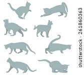 Stock vector russian blue cat silhouette collection 261860363
