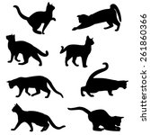 Stock vector cat silhouette collection 261860366