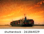 cargo container ship at... | Shutterstock . vector #261864029