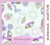 card with floral ornament ... | Shutterstock .eps vector #261877148