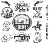 Set of vintage rodeo emblems, labels, logos, badges and designed elements. Wild West theme. Monochrome style - stock vector