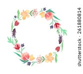 watercolor floral wreath. it... | Shutterstock . vector #261880814