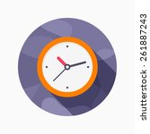 clock flat icon with long...