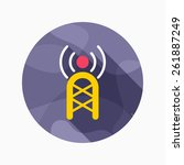 communications tower flat icon...