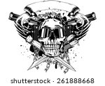 vector illustration skull two...