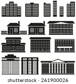 black silhouettes of buildings... | Shutterstock .eps vector #261900026