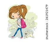 Stock vector girl walking with dog vector illustration you can easily delete background all images are on 261921479