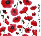 poppies pattern. watercolor | Shutterstock .eps vector #261946043