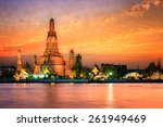 wat arun in sunset at bangkok... | Shutterstock . vector #261949469