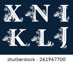 vintage floral alphabet set.... | Shutterstock . vector #261967700