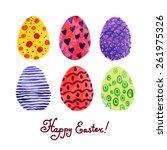 happy easter. watercolor. | Shutterstock .eps vector #261975326