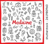 hand drawn medical icons set.... | Shutterstock .eps vector #261980960
