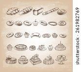 vintage bakery poster. freehand ... | Shutterstock .eps vector #261982769