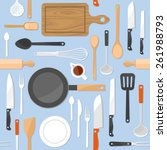 kitchen tools seamless pattern... | Shutterstock .eps vector #261988793
