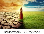 a climate change concept image. ... | Shutterstock . vector #261990920