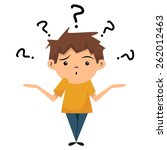 confused child  shrugging... | Shutterstock .eps vector #262012463