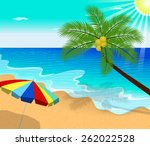 tropical beach with palm trees... | Shutterstock .eps vector #262022528