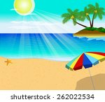 tropical beach with palm trees... | Shutterstock .eps vector #262022534