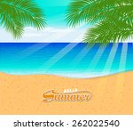 tropical beach with palm trees  | Shutterstock .eps vector #262022540