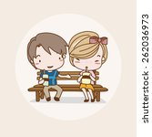 dating couple isolated vector   ... | Shutterstock .eps vector #262036973
