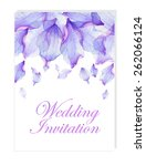 floral wedding invitation with... | Shutterstock .eps vector #262066124