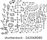 vector hand drawn arrows set... | Shutterstock .eps vector #262068080