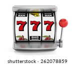 Slot machine with three seven's isolated on white background - stock photo