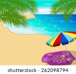 tropical beach with palm trees  | Shutterstock .eps vector #262098794