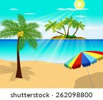 tropical beach with palm trees  | Shutterstock .eps vector #262098800