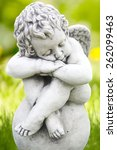 stone figure angel sitting on... | Shutterstock . vector #262099463