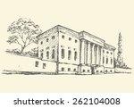 front view of massive edifice... | Shutterstock .eps vector #262104008