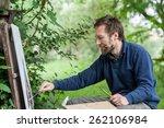 Male Artist On Painting On...