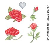 floral set. flowers. red roses. ... | Shutterstock .eps vector #262110764
