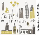 los angeles landmarks and... | Shutterstock .eps vector #262112516
