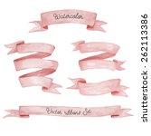 watercolor ribbons set. hand... | Shutterstock .eps vector #262113386