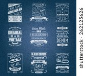 denim jeans white typography... | Shutterstock .eps vector #262125626