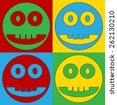 pop art smile face circle... | Shutterstock .eps vector #262130210