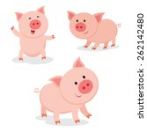 Cute Pigs. Cheerful Pig. Funny...