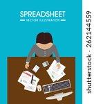 spreadsheet design over blue... | Shutterstock .eps vector #262144559