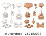 set of sketch objects for game... | Shutterstock .eps vector #262153079