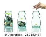 mix coins and seed in clear... | Shutterstock . vector #262153484