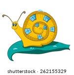 snail on a sheet | Shutterstock .eps vector #262155329