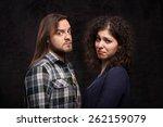couple taking a selfie photo on ...   Shutterstock . vector #262159079