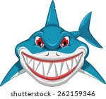 angry shark cartoon  | Shutterstock .eps vector #262159346