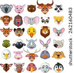 big animal head cartoon... | Shutterstock .eps vector #262160483