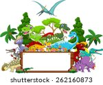 Dinosaur cartoon with landscape background and blank sign