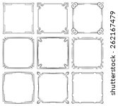 set of nine square elegant... | Shutterstock . vector #262167479