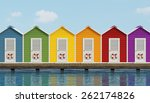 Colorful Beach Cabins On An Old ...