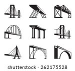 Stock vector different bridges in perspective vector illustration 262175528