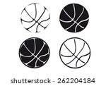 set of basketball balls ... | Shutterstock .eps vector #262204184